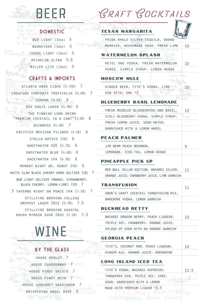 Big Sky Cocktail Menu